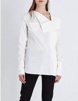 Yang Li Asymmetric-neck cotton shirt