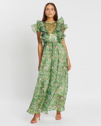 Romance Was Born Lacy Gardens Ruffle Gown with Slip