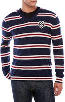 Love Moschino Stripe V-Neck Wool Sweater