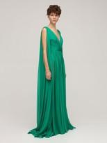 Thumbnail for your product : ZUHAIR MURAD Draped Silk Chiffon V Neck Long Dress