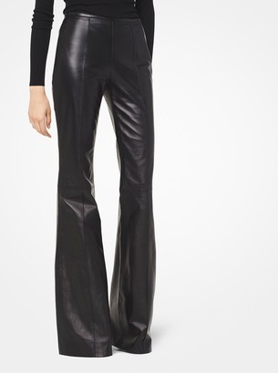 Michael Kors Collection Plonge Leather Flared Pants