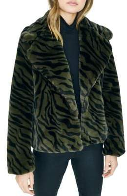 Sanctuary Wild Nights Zebra-Print Faux Fur Coat