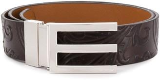 Etro Paisley Embossed Logo Buckle Belt