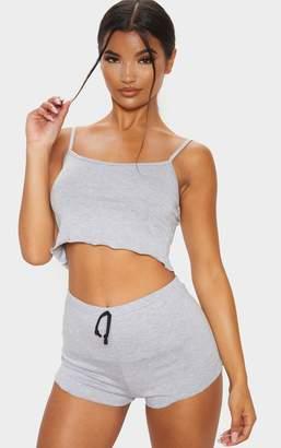 PrettyLittleThing Grey Basic Frill Hem Pyjama Set
