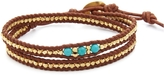 Chan Luu Gold And Turquoise Double Wrap Bracelet