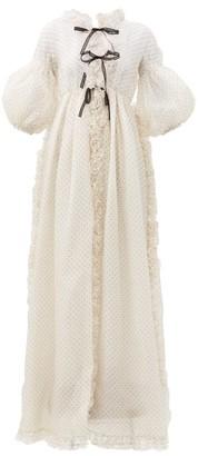 Giambattista Valli Ruffled Polka-dot Flocked Organza Gown - White Black