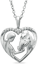 Zales ASPCA® Tender VoicesTM Diamond Accent Girl with Horse Pendant in Sterling Silver