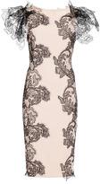 Marchesa Pale Coral Crepe Cocktail Dress With Floral Applique