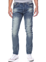 Monarchy Denim & White Stitched Pocket Straight-Leg Jeans - Men's Regular