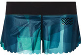 Monreal London Scalloped Printed Stretch-Jersey Shorts