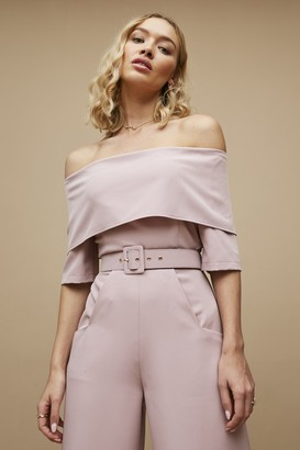 Paper Dolls Acacia Pink Bardot Belted Wide-Leg Jumpsuit
