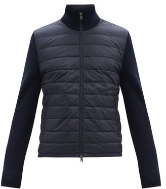 Moncler Down-quilted Wool-blend Cardigan - Navy