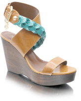 Patrizia Pepe Platform Wedge Pleated Ankle Strap Sandal