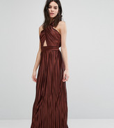 True Decadence Petite Allover Pleated Cross Front Open Back Maxi Dress