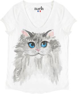 Nach White Cat T Shirt - large