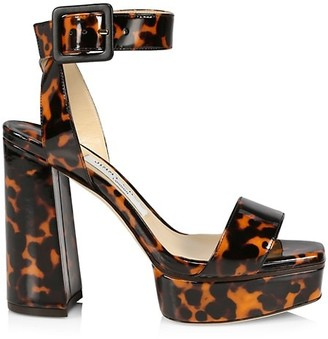 Jimmy Choo Jax Tortoiseshell Patent Leather Platform Sandals