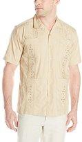 Cubavera Men's Short-Sleeve Essential Guayabera Embroidered Shirt