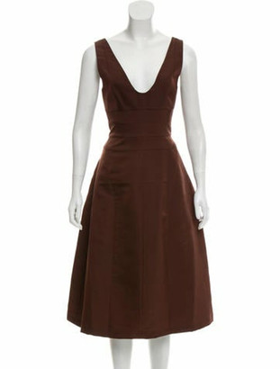 Narciso Rodriguez 2017 Sleeveless Midi Dress Brown