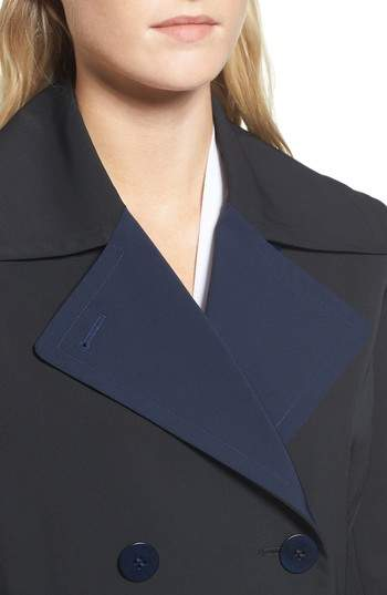 Trina Turk Women's Isabella Two-Tone Double Breasted Trench Raincoat