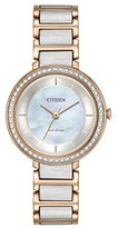 Citizen Women's 'Silhouette Crystal' Quartz Stainless Steel Casual Watch, Color:Two Tone (Model: EM0483-89D)