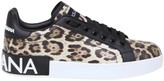 Dolce & Gabbana Portofino Sneakers In Leopard Printed Calfskin