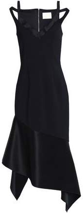 Dion Lee Cold-Shoulder Asymmetric Satin-Paneled Ponte Dress