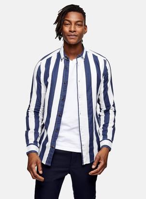 Topman ONLY & SONS Navy Stripe Shirt