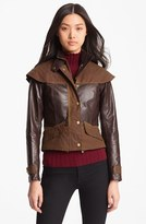 Barbour Gold Label 'Ashford' Leather & Waxed Cotton Capelet Jacket