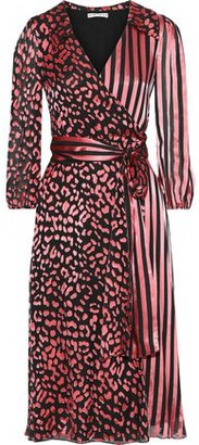 Alice + Olivia Abigail Burnout Silk-blend Satin Midi Wrap Dress