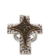 ASOS Plain Band Ring with Mixed Metal Cross