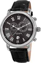 Akribos XXIV Men's Stainless Steel & Black Leather Chronograph Watch, 44mm