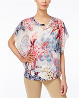 JM Collection Floral-Print Keyhole Top, Only at Macy's