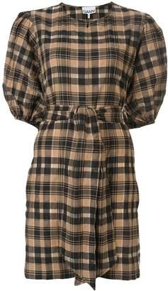 Ganni wrap front plaid dress