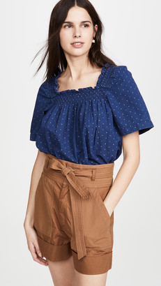 Madewell Smocked Square Neck Top