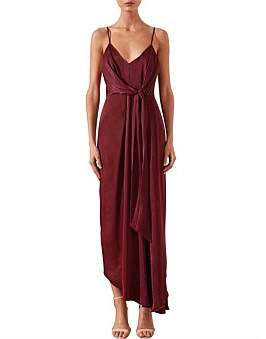 Shona Joy Gisele Tie Draped Midi Dress