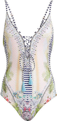 Camilla Lace-Up One-Piece Swimsuit