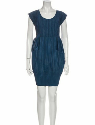 Pleats Please Issey Miyake Scoop Neck Mini Dress Blue