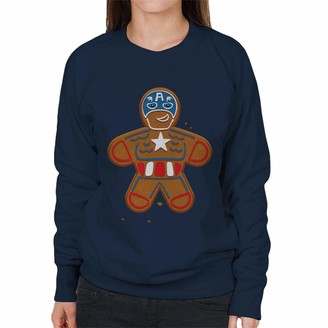 Marvel Avengers Christmas Gingerbread Captain America Women's Sweatshirt Navy Blue