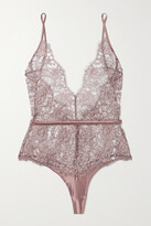 Thumbnail for your product : Coco de Mer Gaia Satin-trimmed Metallic Lace Bodysuit - Brown