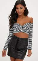PrettyLittleThing Black Stripe Off Shoulder Longsleeve Crop Top