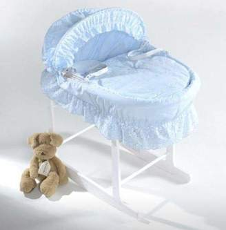 Isabella Collection Alicia White Wicker Blue Milano Moses Basket, 2 g