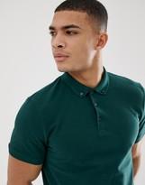 Asos Design DESIGN polo in pique with button down collar in green