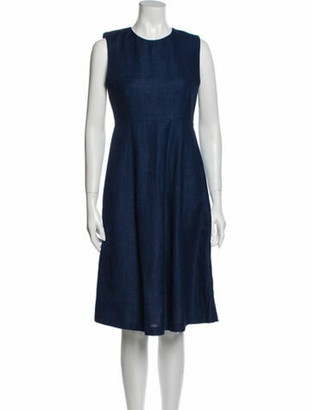 Adam Lippes Linen Midi Length Dress Blue
