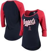 New Era Women's Navy/Red Los Angeles Angels Foil Three-Quarter Sleeve Raglan T-Shirt