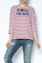 Sundry Striped Graphic Top