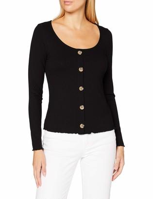 Dorothy Perkins Women's Black Rib Button Through Lettuce Edge Long Sleeve Top Shirt 8
