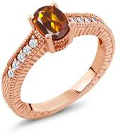 Gem Stone King 1.10 Ct Orange Red Madeira Citrine White Topaz 14K Rose Gold Engagement Ring
