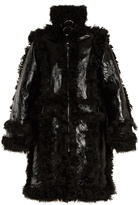 Marques Almeida Shearling-trimmed grained leather coat
