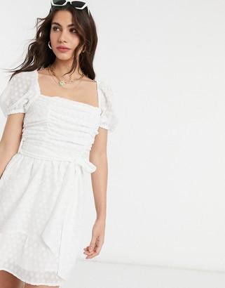 Fashion Union square neck mini dress in boderie