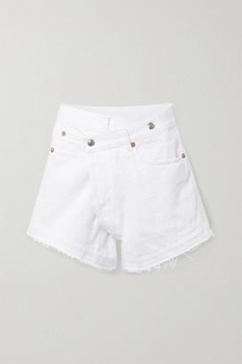R 13 Crossover Asymmetric Denim Shorts - White